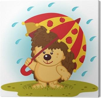 Tableau sur toile Hérisson avec le parapluie sous la pluie - illustration vectorielle