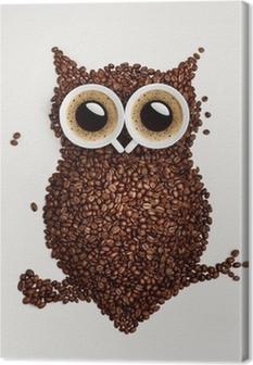 Tableau hibou moderne 5 tableaux sur toile hibou de cafe