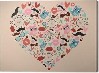Tableau sur toile Hipster Doodles mis en forme de coeur