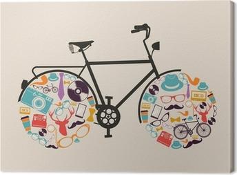 Tableau sur toile Hipsters cru icônes vélo.