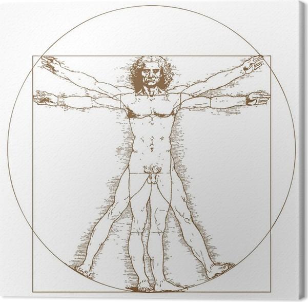 Tableau sur toile Homme de Vitruve de Léonard de Vinci • Pixers® - Nous vivons pour changer