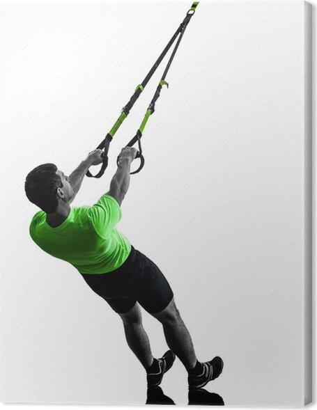 Tableau sur toile Homme exerçant la formation de suspension TRX silhouette 582cb62f7fd