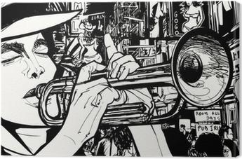 Tableau sur toile Homme jouant de la trompette dans une zone de lumière rouge