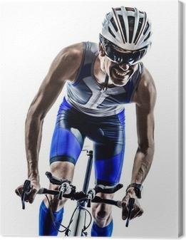 Tableau sur toile Homme triathlon fer cyclistes homme d'athlète bicyclette