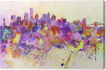 Tableau sur toile Horizon de New York en fond d'aquarelle