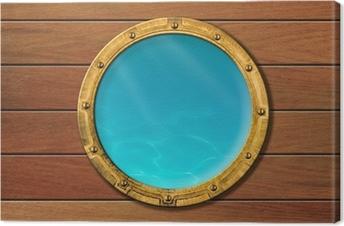 Tableau sur toile Hublot de bateau avec vue sous-marine