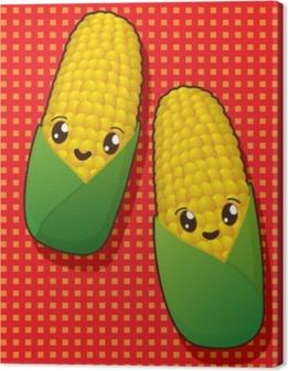 Tableau sur toile Icônes de maïs kawaii