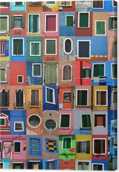 Tableau sur toile Île de Burano à Venise visage et maisons de SES PECHEURS