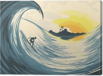 Tableau sur toile Île tropicale vagues et surfer