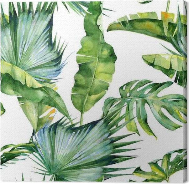tableau sur toile illustration aquarelle sans couture des feuilles tropicales jungle dense le. Black Bedroom Furniture Sets. Home Design Ideas