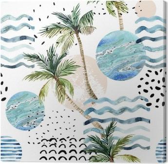 Tableau sur toile Illustration d'art avec des textures de palmier, doodle et marbre grunge.