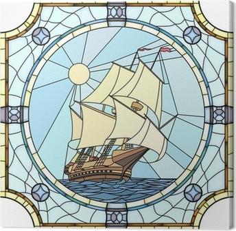 Tableau sur toile Illustration de voiliers du 17ème siècle.