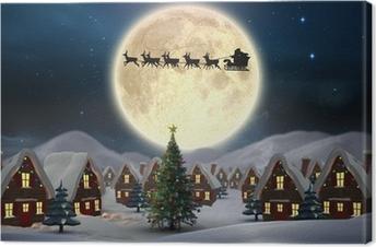 Tableau sur toile Image composite de village noël mignon