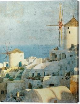 Tableau sur toile Image de cru de village d'Oia à Santorin, Grèce