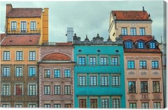 Tableau sur toile Image HDR de maisons anciennes de Varsovie