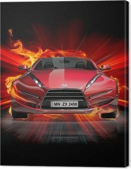Tableau sur toile Incendie de voiture
