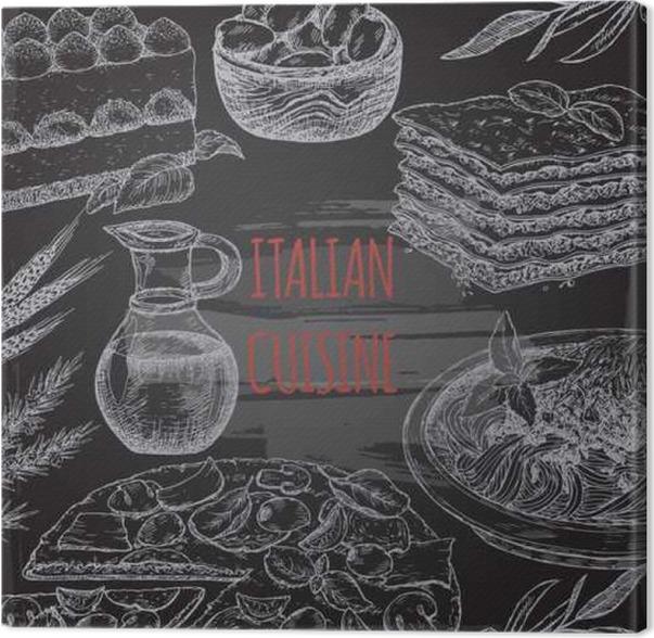 Great tableau sur toile italienne modle de cuisine sur bavkground tableau noir with tableau noir for Ecrire sur un tableau noir
