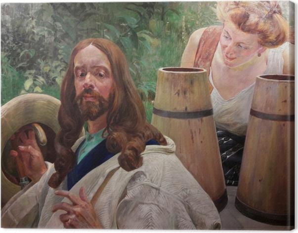 Tableau sur toile Jacek Malczewski - Le Christ et la samaritaine - Reproductions