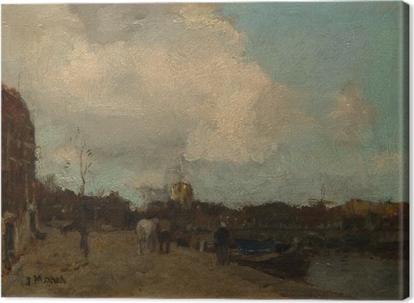 Tableau sur toile Jacob Maris - Côté du canal - Reproductions