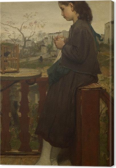 Tableau sur toile Jacob Maris - Fille tricotant sur un balcon, Montmartre - Reproductions