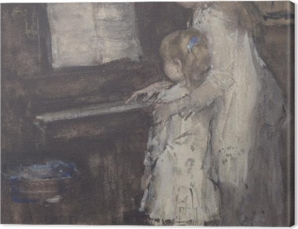 Tableau sur toile Jacob Maris - Les filles de Jacob Maris au piano - Reproductions