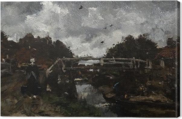 Tableau sur toile Jacob Maris - Pont de bois - Reproductions