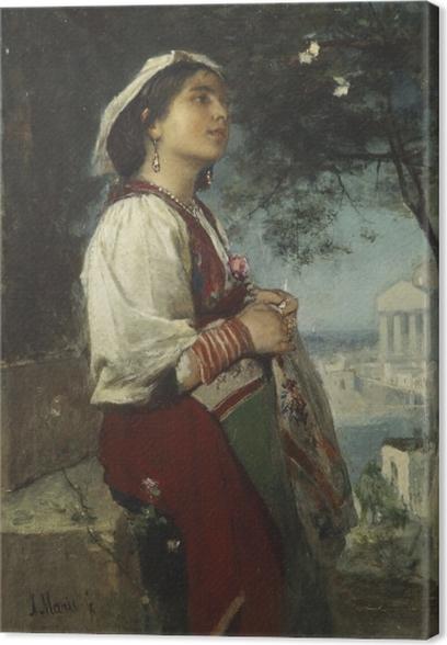 Tableau sur toile Jacob Maris - Une jeune beauté italienne aux papillons - Reproductions