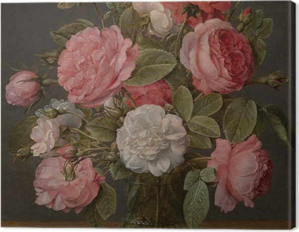 Tableau sur toile Jacob van Hulsdonck - Roses in a Glass Vase - Reproductions