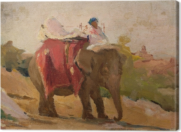 Tableau sur toile Jan Ciągliński - Chittorgarh - Mon éléphant. Du voyage en Inde. - Reproductions