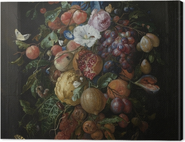 Tableau sur toile Jan Davidsz - Festoon of Fruit and Flowers - Reproductions