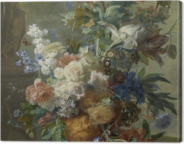Tableau sur toile Jan van Huysum - Still Life with Flowers - Reproductions
