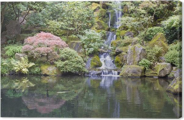 Tableau sur toile Jardin japonais Koi étang avec une cascade ...
