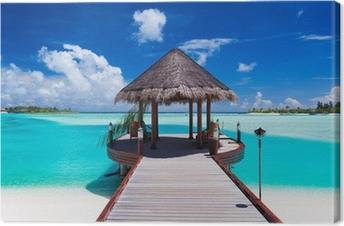 Tableau sur toile Jetée avec vue sur l'océan tropical island