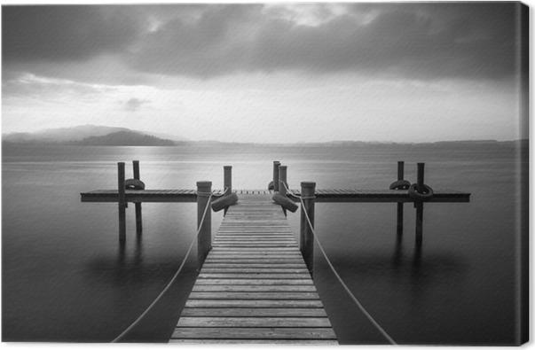 tableau sur toile jet e en bois sur le lac de zoug en suisse longue exposition noir et blanc. Black Bedroom Furniture Sets. Home Design Ideas