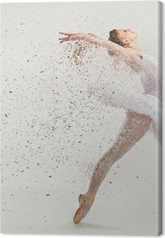Tableau sur toile Jeune danseuse de ballerine dans le tutu effectuer sur pointes