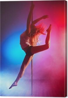 Tableau sur toile Jeune femme de pole dance