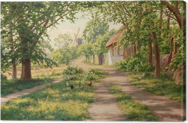 Tableau sur toile Johan Krouthén - Paysage d'été avec moulin à vent - Reproductions