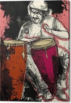Tableau sur toile Joueur de conga - une main dessiné grunge illustration