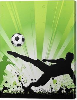Tableau sur toile Joueur de football sur le fond grunge