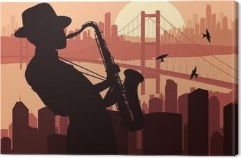 Tableau sur toile Joueur de saxophone illustration de fond
