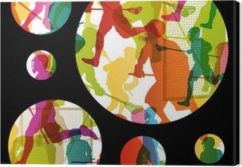 Tableau sur toile Joueurs de crosse actifs hommes sport silhouettes backgrou abstrait