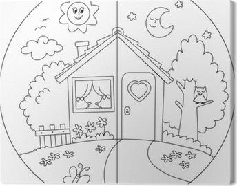 Papier Peint Jour Et Nuit Maison De Campagne à Colorier Pour Les