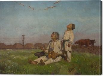 Tableau sur toile Józef Chełmoński - Cigognes