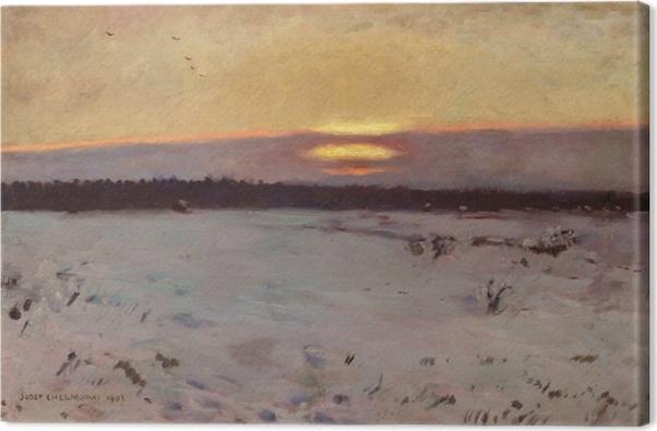 Tableau sur toile Józef Chełmoński - Coucher de soleil en hiver - Reproductions