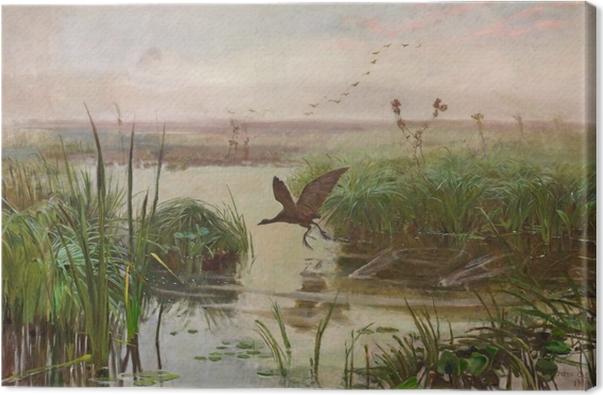 Tableau sur toile Józef Chełmoński - Poule d'eau - Reproductions