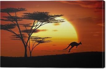 Tableau sur toile Kangourou coucher du soleil Australie