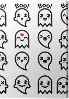 Tableau sur toile Kawaii fantôme mignon de Halloween icônes fixés