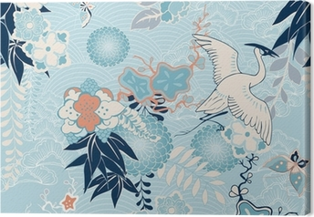 Tableau sur toile Kimono fond avec des grues et des fleurs