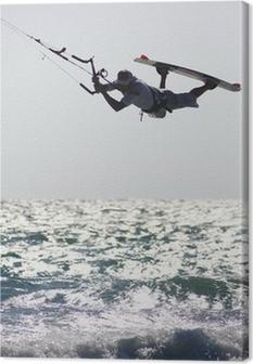 Tableau sur toile Kitesurfer ci-dessus vague