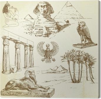 Tableau sur toile L'Egypte ancienne - hand drawn ensemble